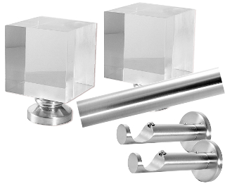 "Block Finial, 1-1/8"" Diam. Contemporary Rod Set"