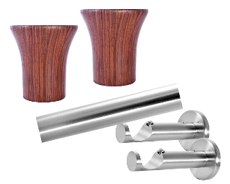 "Wood Avalon Finial, 1-1/8"" Diam. Contemporary Rod Set"