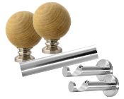 "Wood Ball Finial, 1-1/8"" Diam. Contemporary Rod Set"