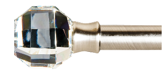 "Crystal Princess Cut Finials, fits 1"" Rod"